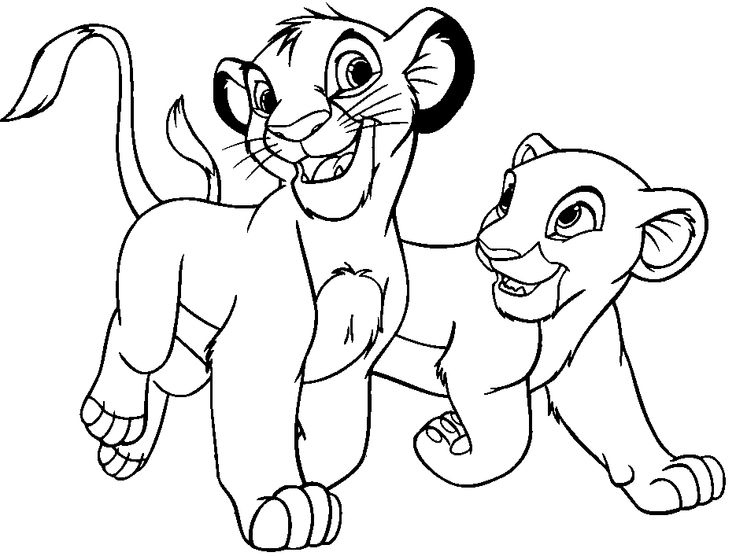 simba and nala happy both coloring pages for kids printable lion king coloring pages for kids