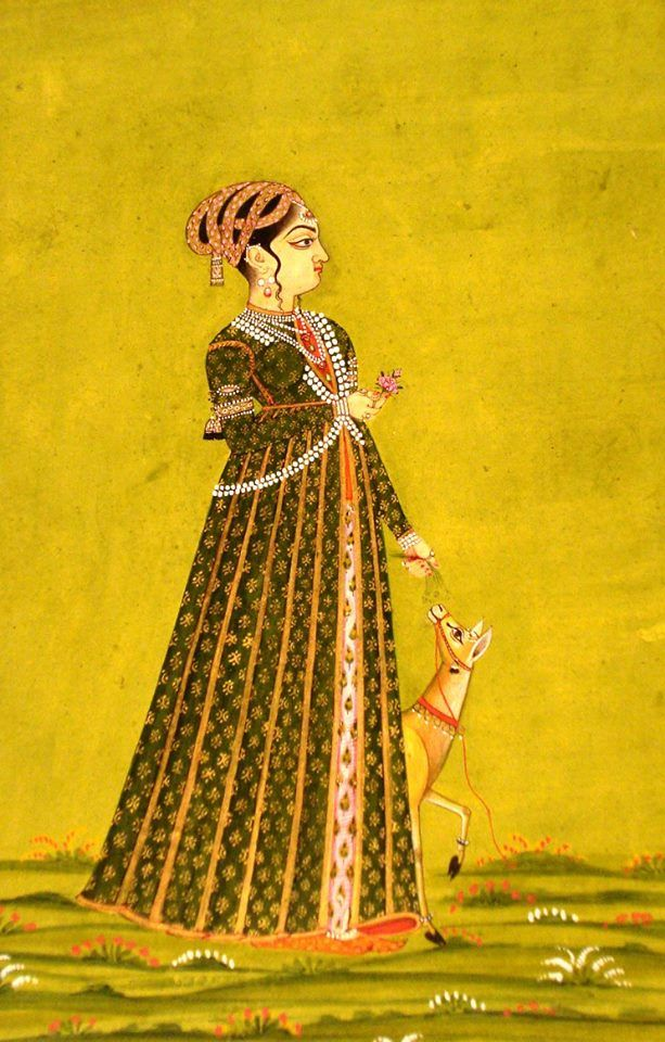 The lady with her pet a deer in a fine designer costume and head dress, Deccan, Hyderabad, late 18th century