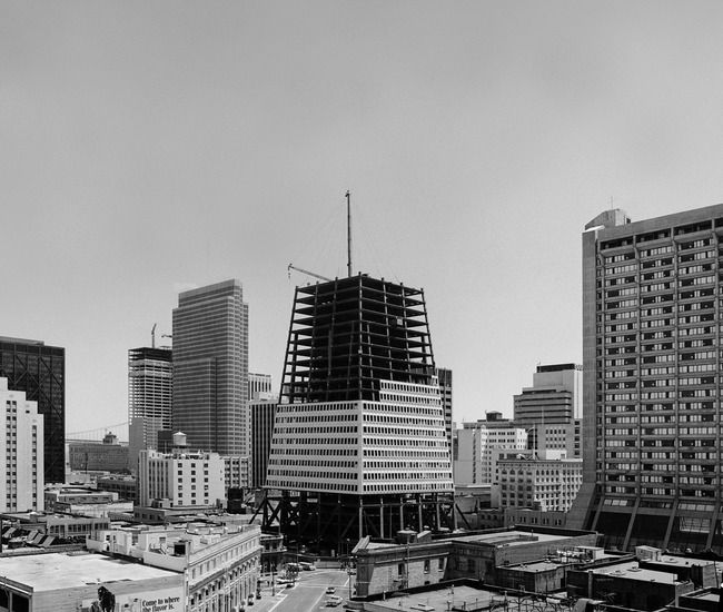 Perfect shape in the making, right Dr. Faelk?: Transamerica Pyramid under construction in 1972, San Francisco