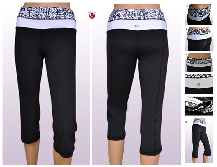 New 2014 Sexy Lululemon Clearance Yoga Groove Crop Pants Black White Fashion