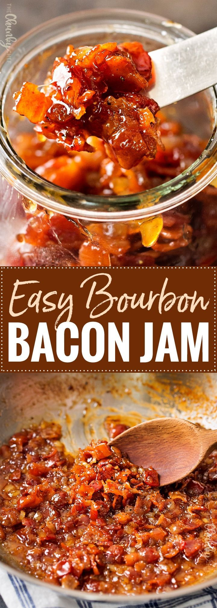 Homemade Bourbon Bacon Jam | Made in one skillet, in less than 30 minutes, this bacon jam get a boozy kick from smooth bourbon.  Perfect to spread on just about anything, and it also makes a great gift! | http://thechunkychef.com