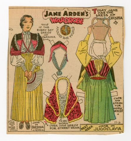 78.2343: Jane Arden's Wardrobe-Jane in Sardinia   paper doll   Paper Dolls   Dolls   National Museum of Play Online Collections   The Strong