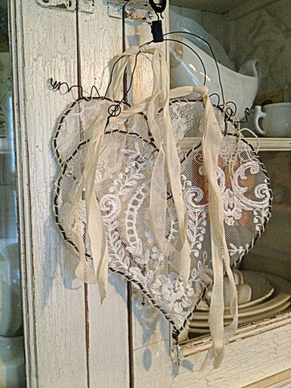 """Wire hearts - covered with lace and tied with rag """"ribbons"""" - ribbons can be another color - 40 Sweet Shabby Chic Valentine's Day Décor Ideas 