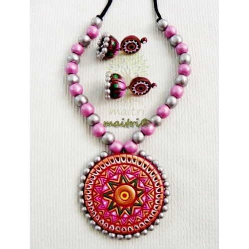 Terracotta Jewellery - Royal Pink Silver Designer Terracotta Set  https://www.facebook.com/maitri.crafts.maitri maitri_crafts@yahoo.com