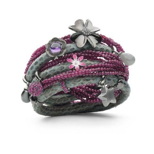Grey Snakeskin and Garnet Wrap Story Bracelet