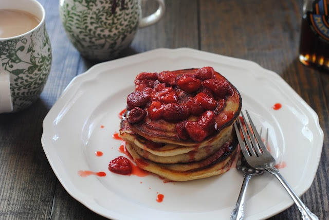 farmhouse | whole grain pancakes with strawberry topping