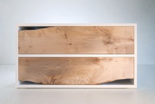 Nice live edge wood on a chest of drawers! >>> #wood #white #minimal: