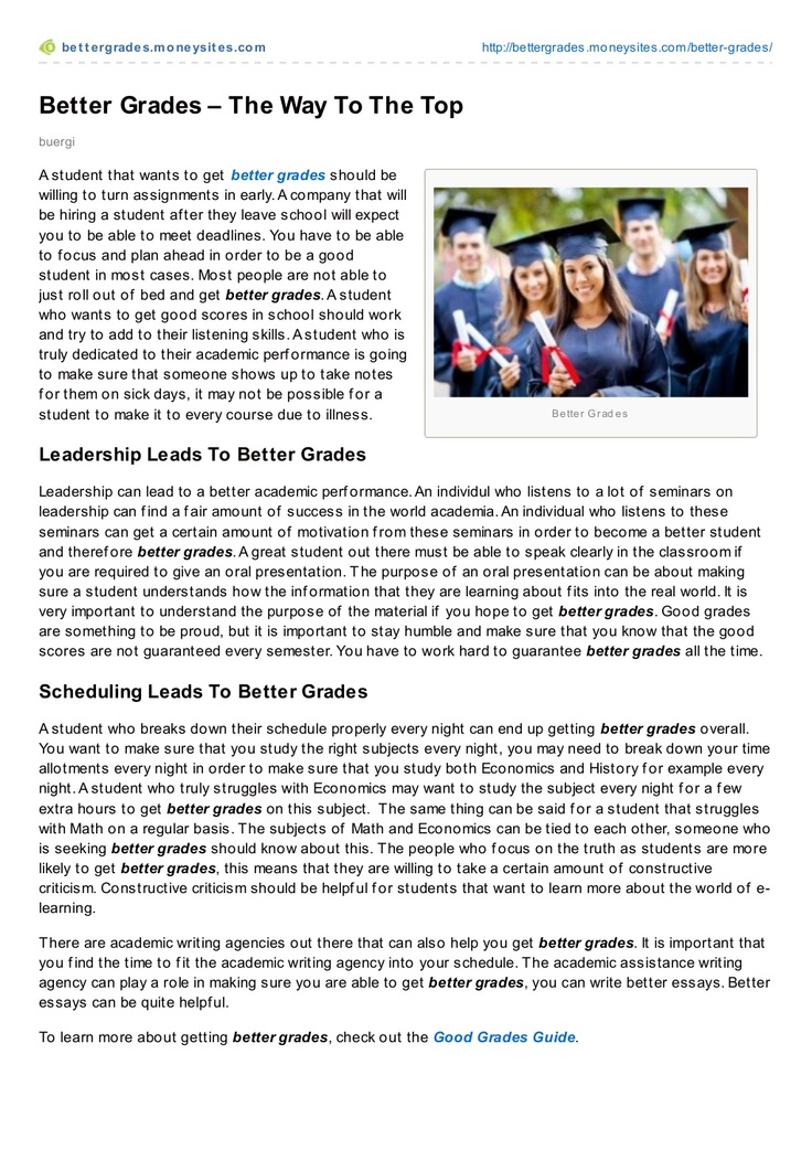 better-grades-the-way-to-the-top by Bruno Bürgi via Slideshare