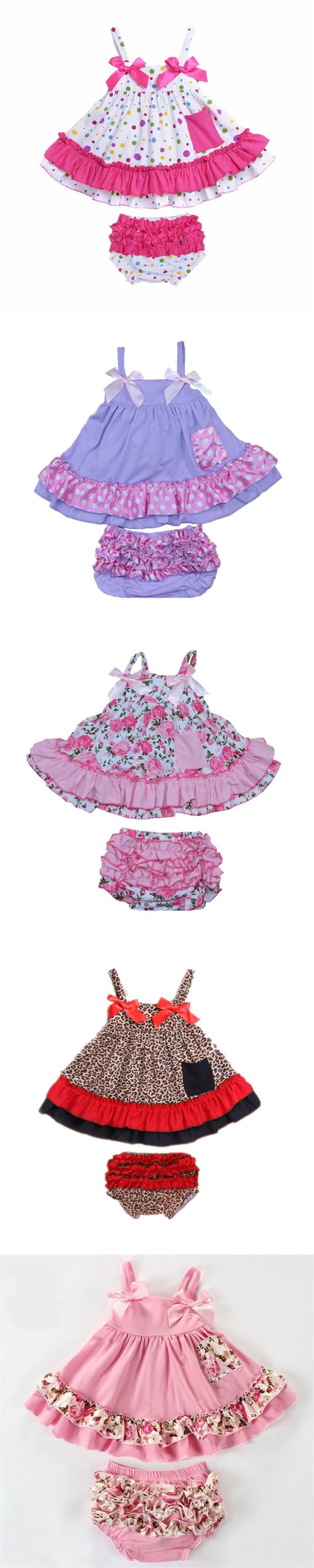 Baby Clothing Set Summer Girls Dress For Newborn Baby Sets Cotton Baby Girl Clothes Sling Shirt +Short Bloomers Girl Dresses B-3 $15.8