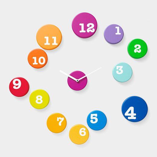 Playful Wall Clock: Colors Clocks, Idea, Moma Stores, Cool Clocks, Wall Clocks, Time Wall, Fun Time, Contemporary Clocks, Kids Rooms