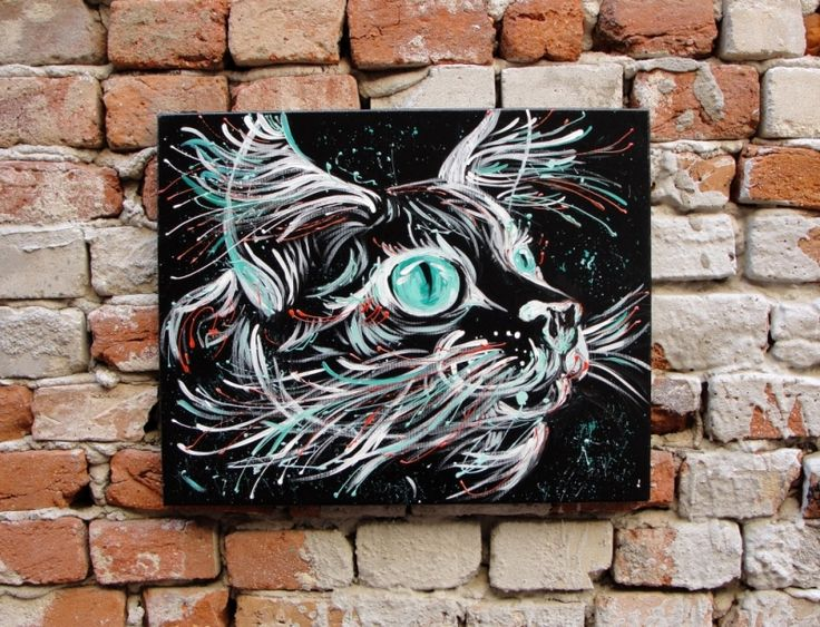 """""""Galactic Cat"""" painting on canvas.Tablou """"Galactic Cat"""""""