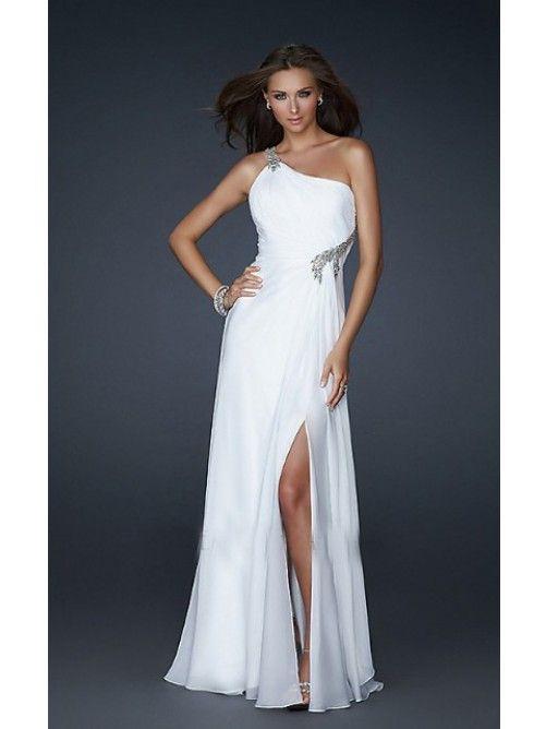 One-Shoulder-Träger Bodenlang Weiß Abendkleid