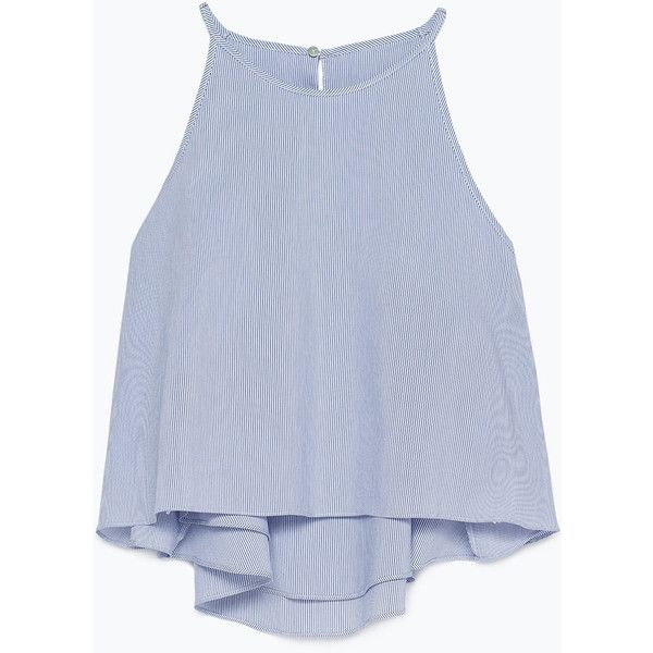Zara Striped Crop Top (285 MAD) ❤ liked on Polyvore featuring tops, shirts, crop tops, tank tops, blue, lined shirt, blue top, zara shirt, stripe crop top and striped shirt