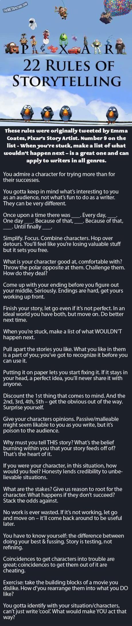 Pixar's Rules Of Storytelling…