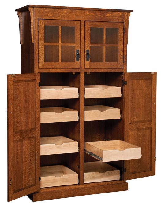 Heritage Mission 4-Door Pantry with Rollout Shelf Cabinet | Amish Furniture Factory