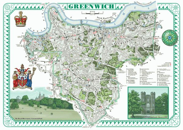 London Borough of Greenwich features Greenwich, Woolich, Charlton, Blackheath, Kidbrooke, Plumstead, Abbey Wood, Shooters Hill, Eltham and Thamesmead.  Includes images of Greenwich Park and Severndroog Castle.