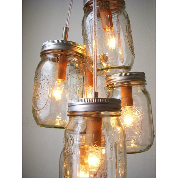 Chasing Fireflies Mason Jar Chandelier Lighting Fixture - Swag Lamp... ❤ liked on Polyvore