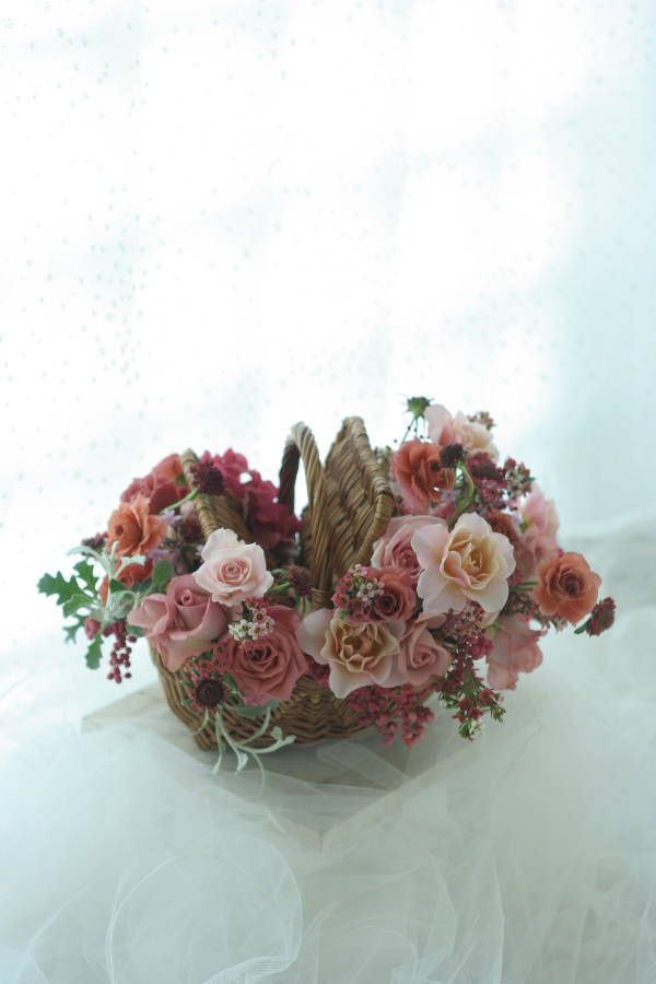 バスケットブーケ 秋のクランベリー 椿山荘さまへ : 一会 ウエディングの花