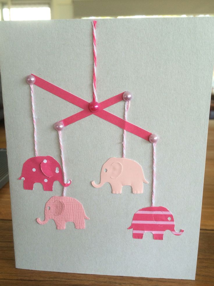 Simple newborn girl card