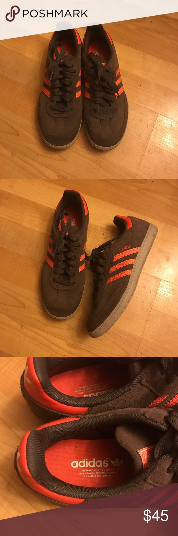 Adidas samba Suede adidas samba in brown with orange details. Very gently used and in great condition. Smoke free. adidas Shoes Sneakers