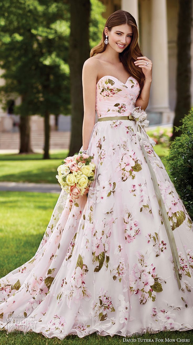 david tutera mc spring 2017 bridal strapless sweetheart neckline ruched bodice floral prints pink color romantic ball gown a  line wedding dress chapel train (117283) mv