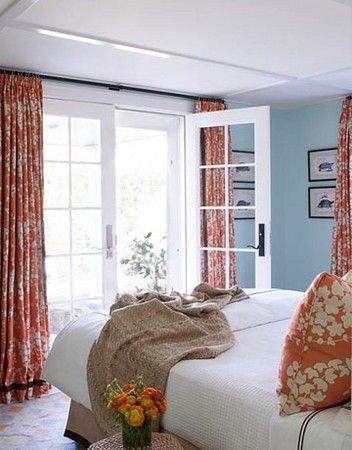 blue-orange-bedroom-french-doors--- two tone color pattern: walls and linens