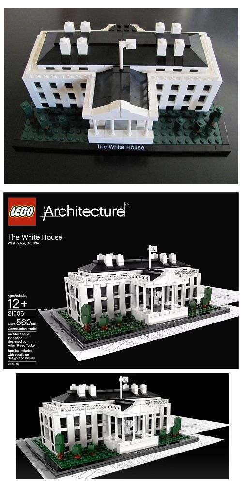 """Lego White House  Architectural replica of the real-world White House Booklet included with details on design and history (English language only) Measures 9"""" (22cm) wide The assembled White House model stands wide on a base with printed name label Set contains 560 pieces  #lego #legowhitehouse #legoarchitecture"""