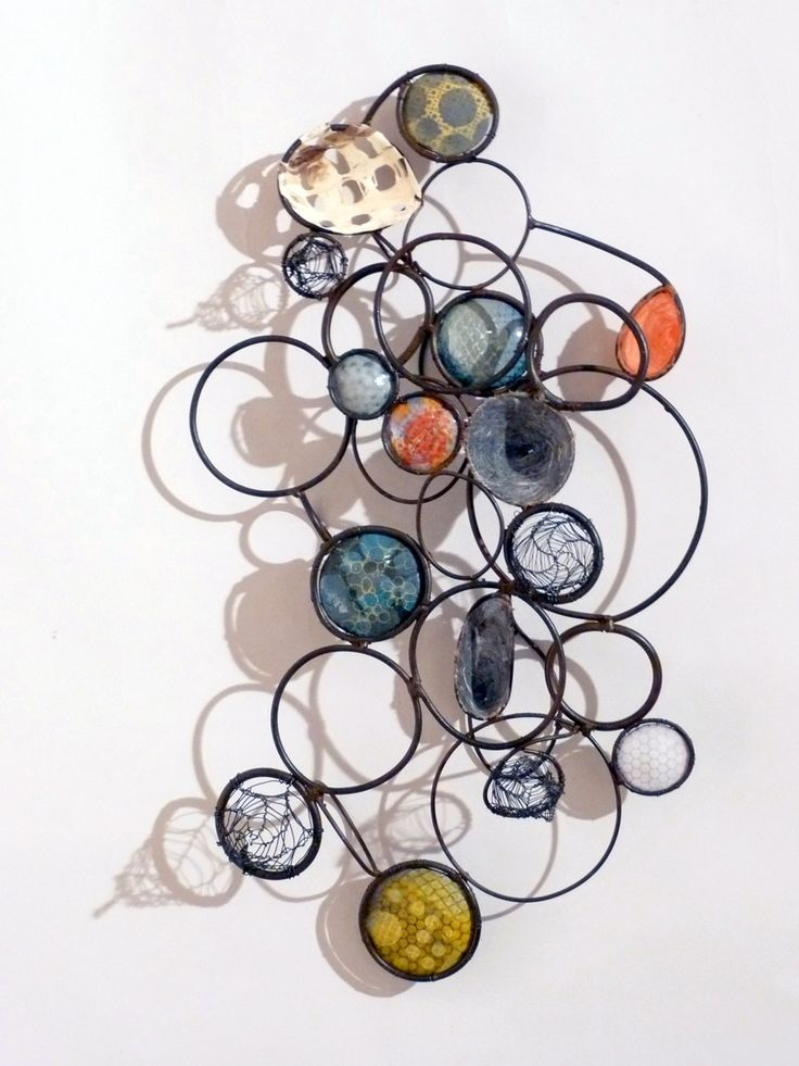 """Wall mounted sculpture, 2015 24 x 14 x 5"""" metal, wire, enamel on copper, and paper (Contemporary )"""