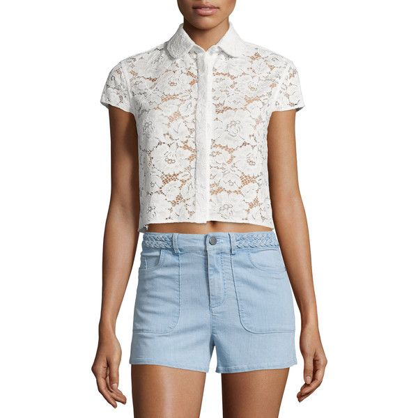 Alice + Olivia Loni Short-Sleeve Lace Top ($89) ❤ liked on Polyvore featuring tops, cream, blue crop top, cap sleeve top, cap sleeve crop top, cap sleeve tops and peter pan collar top