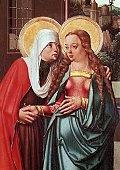 Visitation, by Master of Litomerice (active circa 1500-1515), detail