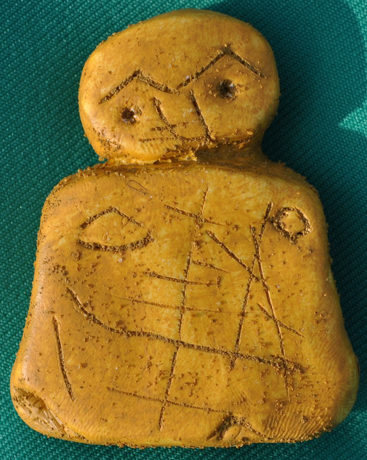 "The Orkney ""Wife"" was found in at the golf links at Noltland on the Island of Westray in 2009 by Archaeologist Jakob Kainz in a midden (old rubbish tip) filled with the brittle bones of deer, cattle and fish. Made from Old Red Sandstone from the island of Eday, the venus like figurine is the only known Neolithic carving of a human form to have been discovered in Scotland."