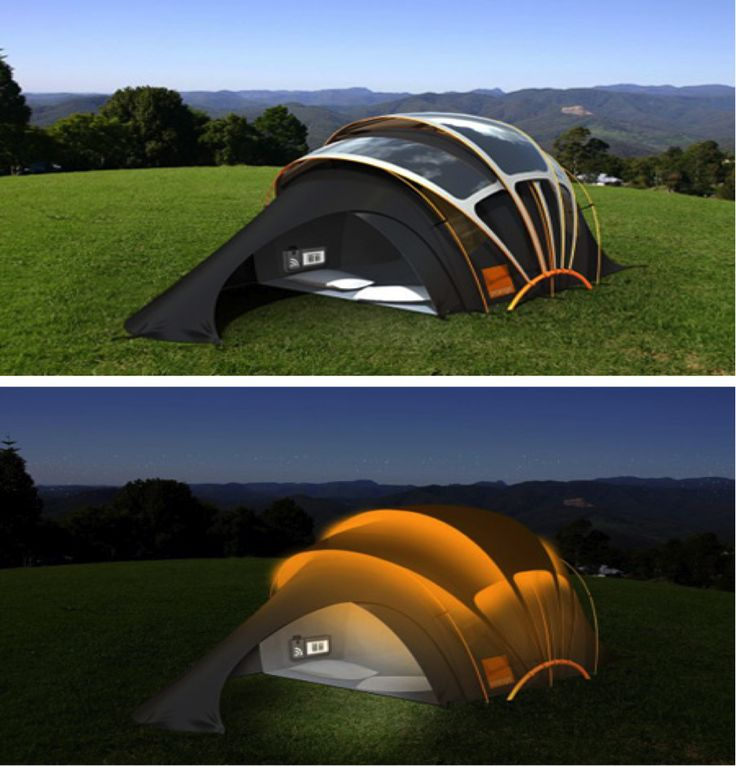 The Orange Concept Solar Tent uses photovoltaic fabric to capture the energy of the sun. A wireless hub with touchscreen LCD allows you to manage your energy consumption.