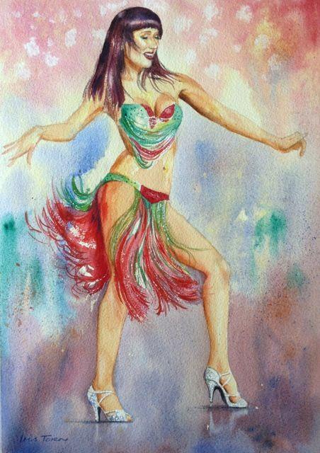 Salsa - Celebration Artist Iris Toren Size: 29 x 41 cm (unframed) Medium: Watercolour