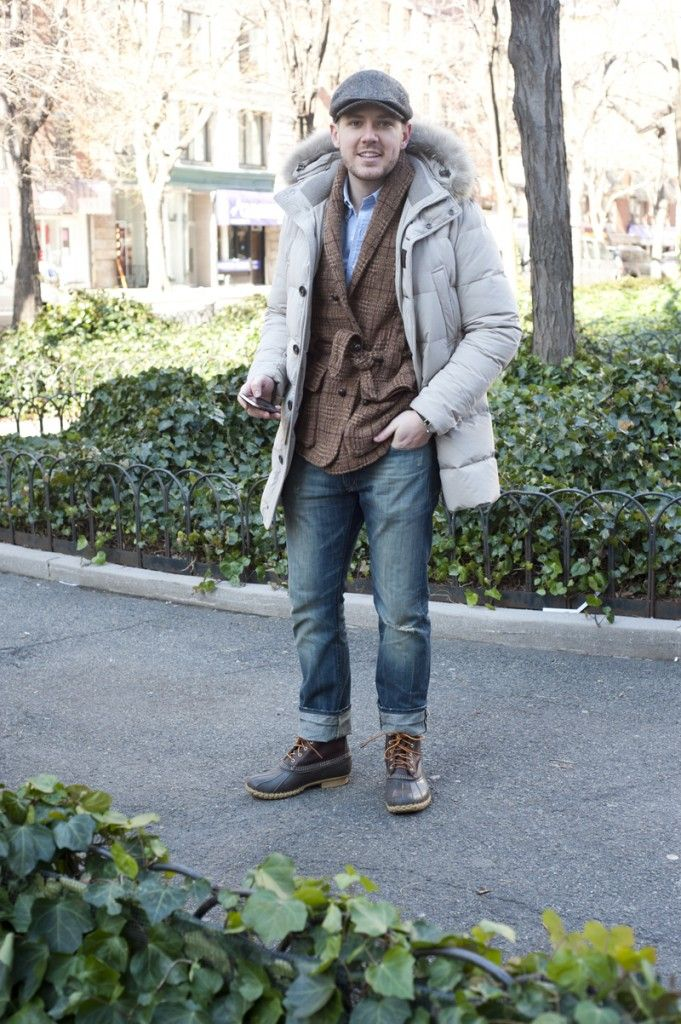 Parka?  Rolled jeans with boots.