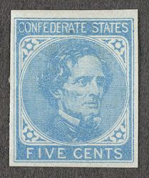 United States Confederate States 1862 5 Cents Light Blue Unused Postage Stamps