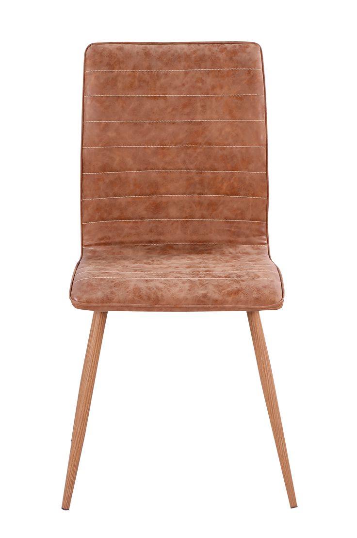 """Modern stol med brunt återvunnet läder och metallben i ek mönstrat folie. Höjd 89, djup 43, bredd 49 cm. Monterade. Vikt 14 kg. Läs om fraktavgiften under fliken """"Leverans""""."""