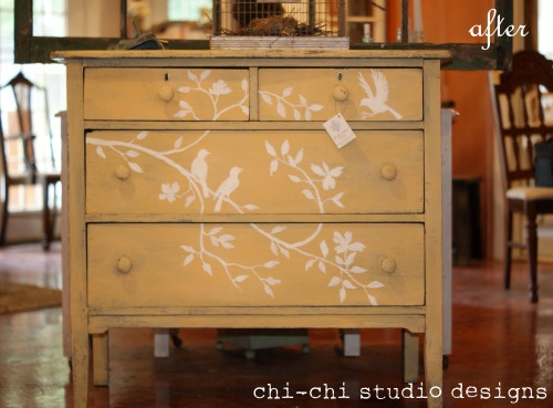 I've always loved this idea, unfortunately I haven't been able to find an old dresser in great shape.