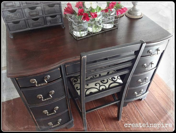 black and silver furniture. painted and distressed black desk stained wood top silver hardware bu0026w upholstered furniture i