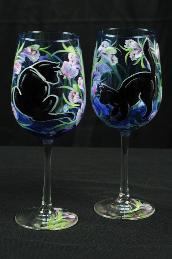 Set Of 2 Hand Painted Large Wine Glass  /  Black Cats by ArteeVita