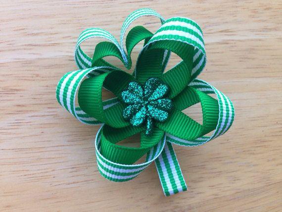 St. Patrick's Day hair bow - shamrock hair bow on Etsy, $4.25