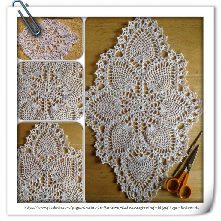 Crochet Oval Pineapple Doily In Number 10 Cotton