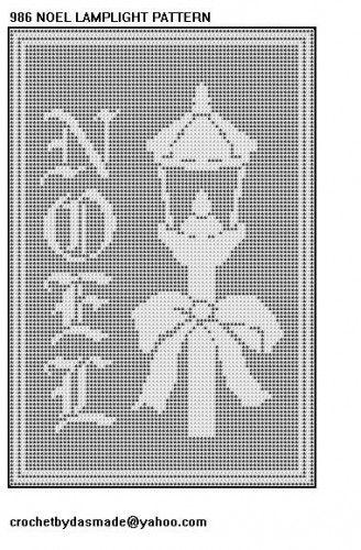 986 Noel Lamp Filet Crochet Doily Tablemat Afghan Pattern