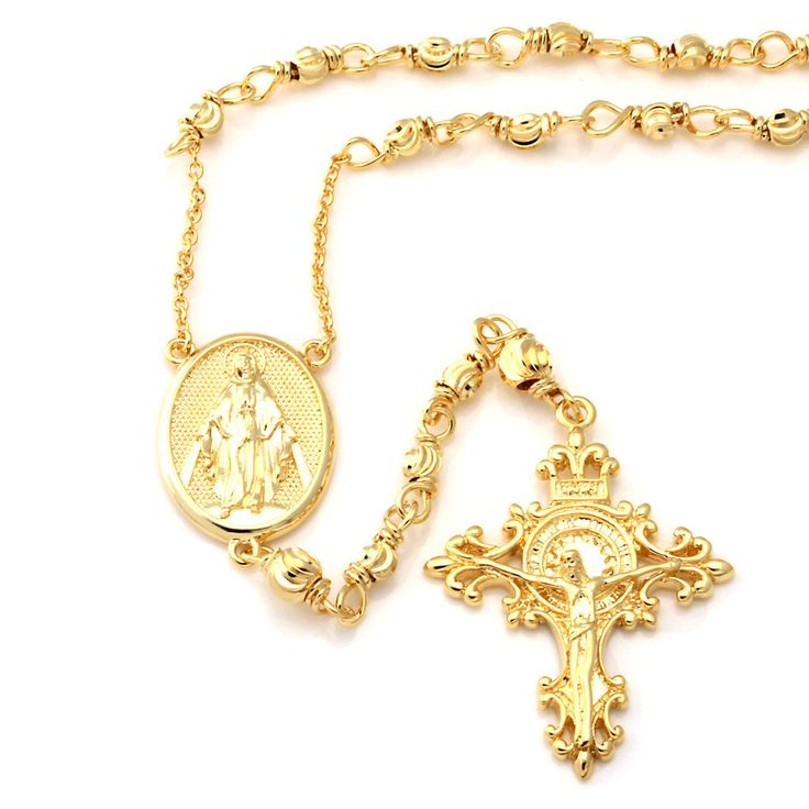 King Ice 14K Gold Rosary Necklace