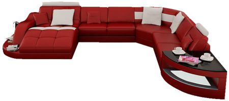 This large leather sectional sofa comfortably sits seven guests and is sure to impress with its gorgeous and unique shape. The definition of ultra modern. Available in 16 colors.