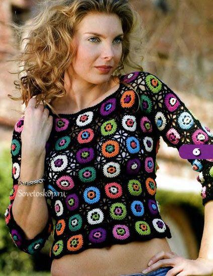 Maglia multicolore all'uncinetto: Meravigliosa maglia all'uncinetto composta di quadretti lavorati con diversi colori, è un modello che ci permette diconsumare le rimanenze di fili di cotone.Possiamo farlo anche con fili di lana se lo vogliamo più caldo.