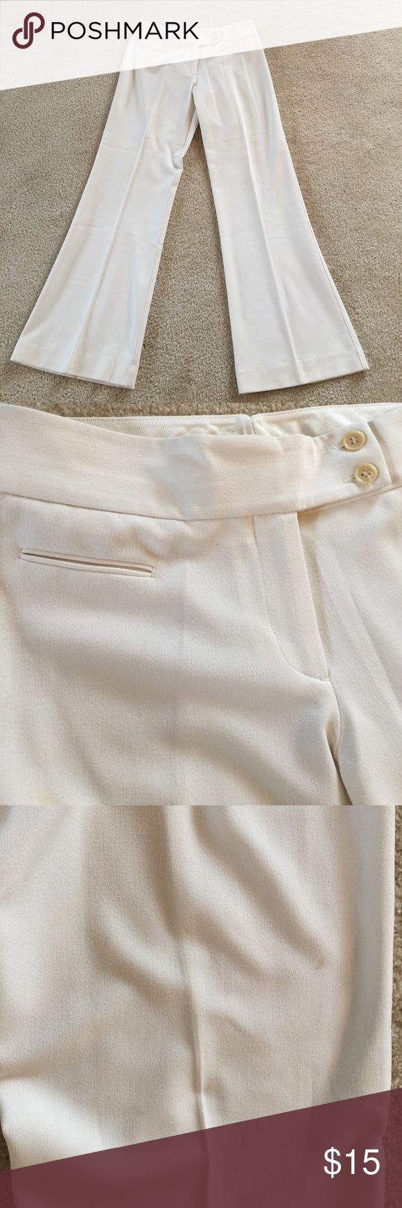 """Winter white Wide Leg Trouser These are Theory, but I removed the tags because of the color. One side pocket in front. No back pockets. There is one small spot on the back as noted in the photo. I am pricing them accordingly. Dry clean only.  Waist 15"""" inseam 29-1/2. Leg width at bottom 10-1/2. Pants Wide Leg"""