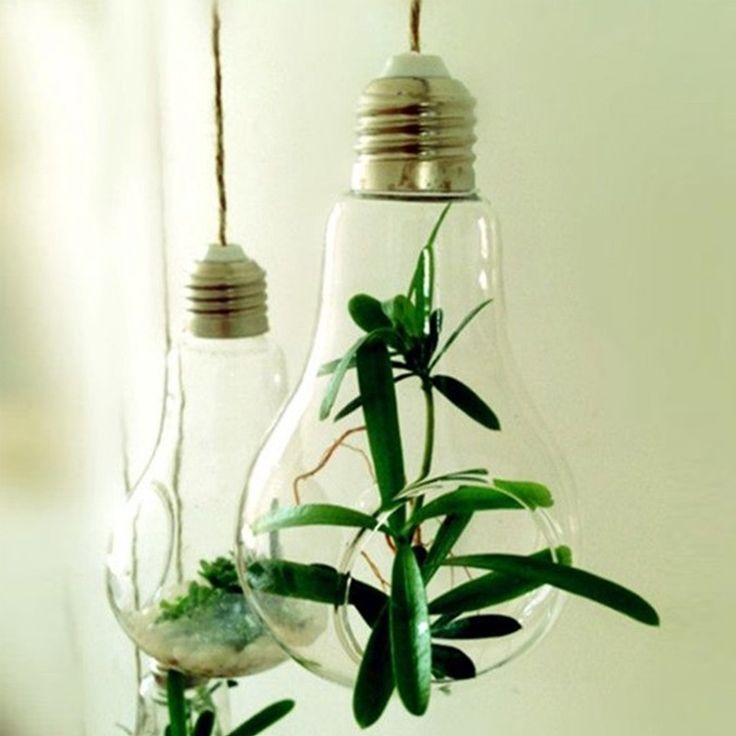 Elegant Glass Gloeilamp Vorm Bloem Water Plant Opknoping Vaas