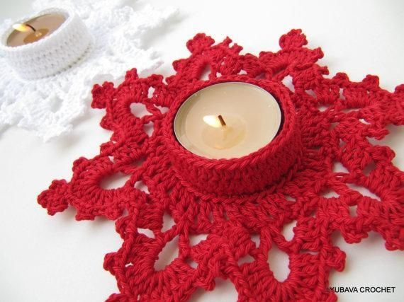 Crochet Candle Holder 'Snowflake'.