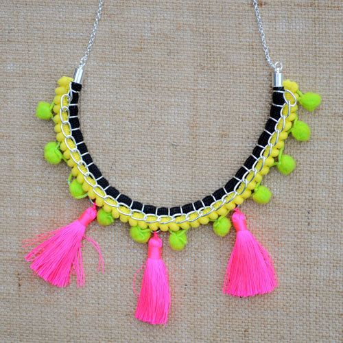 Yellow and Green Pom-pom Necklace with Neon Pink Tassels