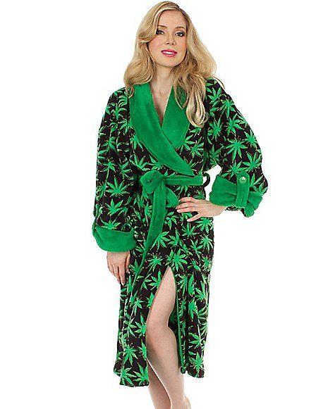 Green Leaf Plush Robe - Spencer's